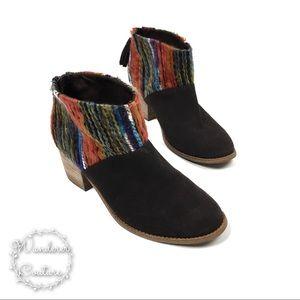 Toms Leila Multi Textile Knit Suede Ankle Boots